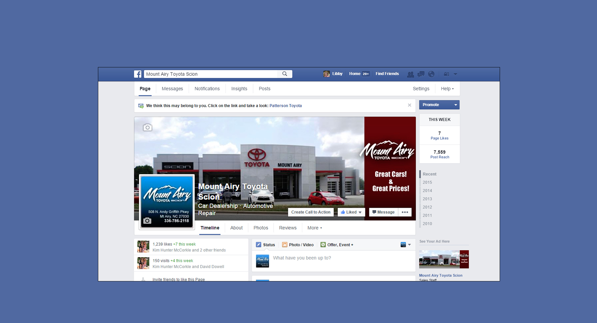 Mount Airy Toyota Facebook Page Management & Social Media Management by CCP Web Design
