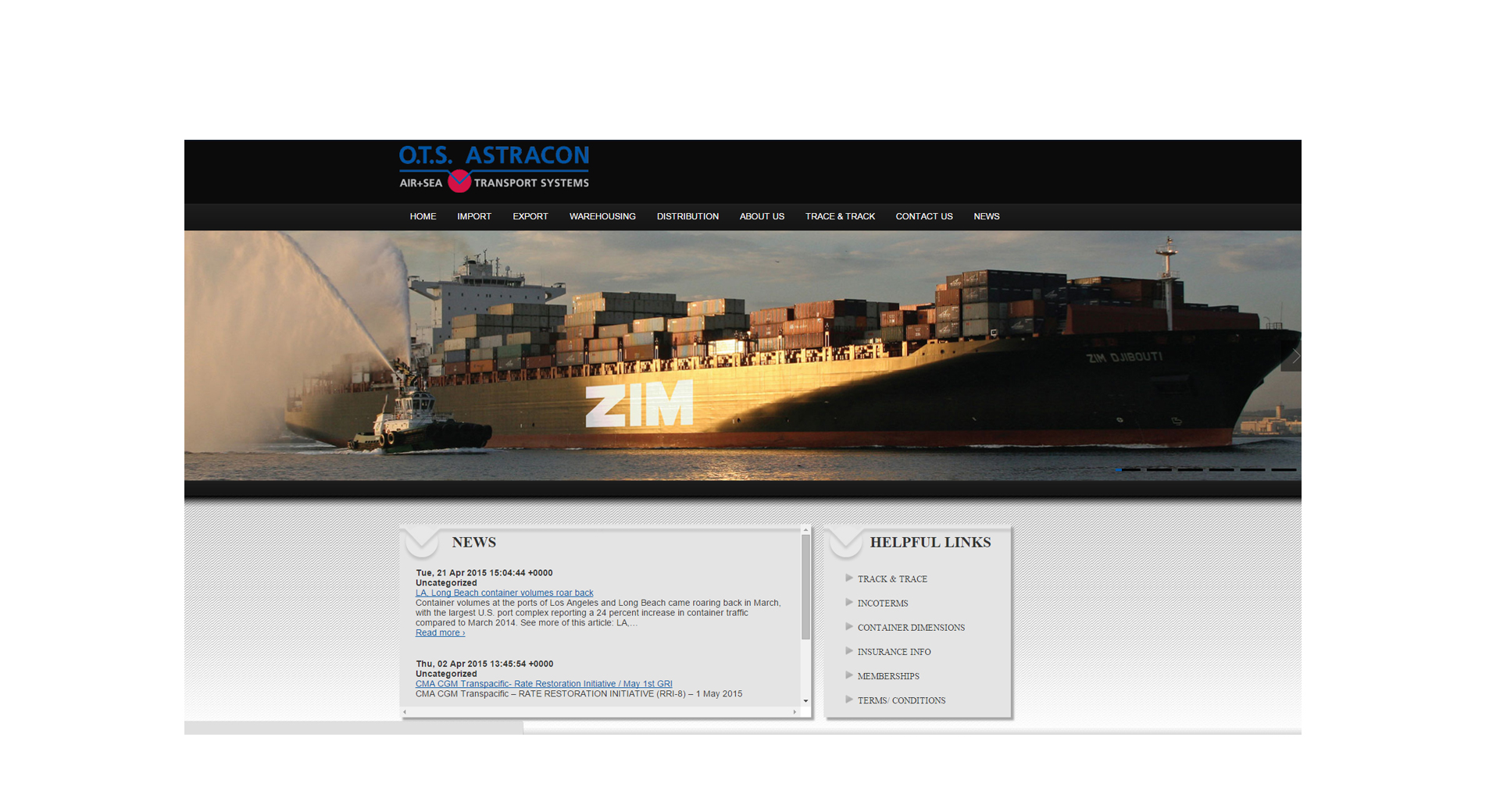 O.T.S. Astracon Shipping & Logistics - Website Design by CCP Web Design in Charlotte NC