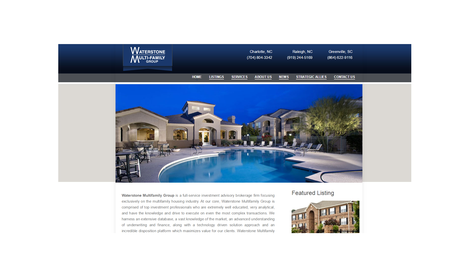 Website Design and Copywriting - Waterstone Multi-Family Group (Real Estate)