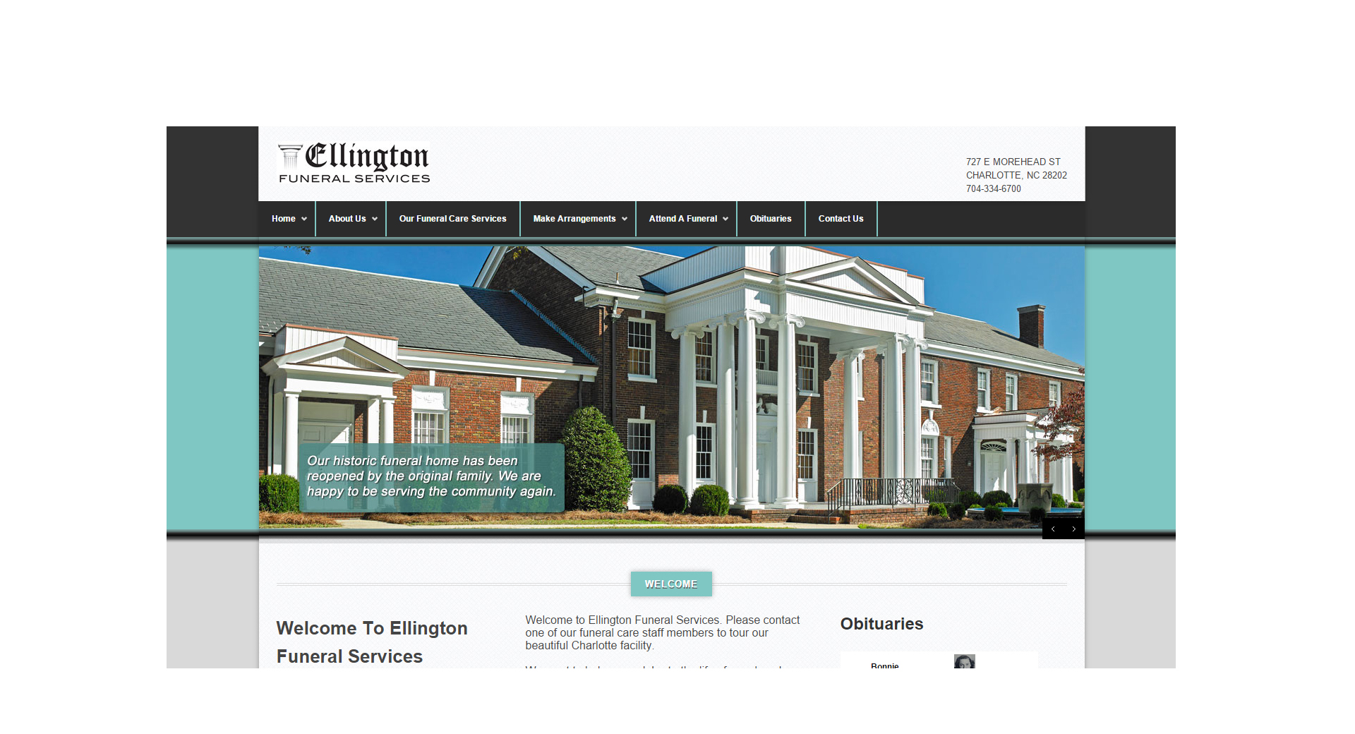 ellington funeral services funeral home website design copy writing seo. Black Bedroom Furniture Sets. Home Design Ideas